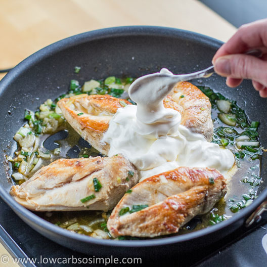 Chicken in Creamy Green Onion Sauce; Adding the Sour Cream | Low-Carb, So Simple!