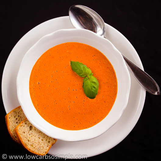 Appetizer Soup from Red Bell Pepper, Garlic and Basil | Low-Carb, So Simple!