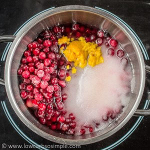 Sugar-Free Cranberry Orange Sauce; Ingredients in a Saucepan | Low-Carb, So Simple!
