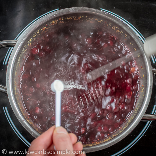 Sugar-Free Cranberry Orange Sauce; Sprinkling the Xanthan | Low-Carb, So Simple!