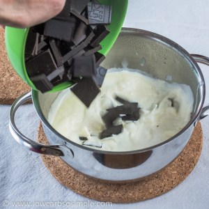 Crunchy Cherry Chocolate Confections; Adding the Chocolate to the Cream | Low-Carb, So Simple!