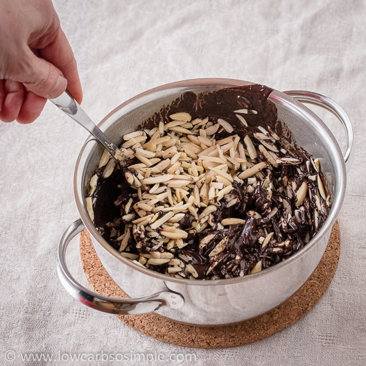 Crunchy Cherry Chocolate Confections; Mixing after Adding the Slivered Almonds | Low-Carb, So Simple!