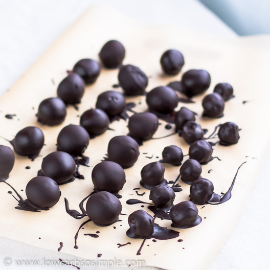 Chocolate Rum Balls; Dipped Chocolate Rum Balls and Cherries | Low-Carb, So Simple!