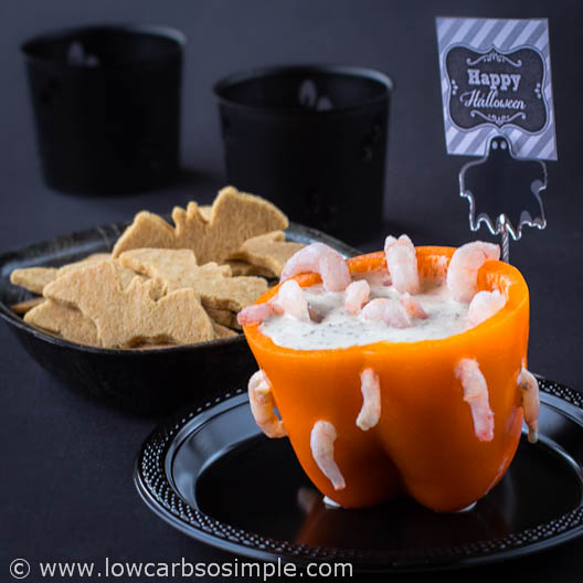 Wormy Dip for Halloween; Dip with Low-Carb Crackers | Low-Carb, So Simple
