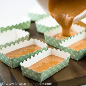 Perfect Peanut Butter Bread; Pouring the Batter into Mini Loaf Pans | Low-Carb, So Simple