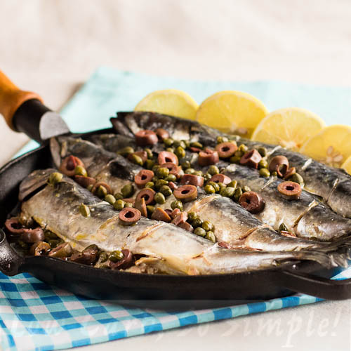 """Mackerel with Olives and Capers on my Kindle Book """"Easy Everyday Recipes"""" 