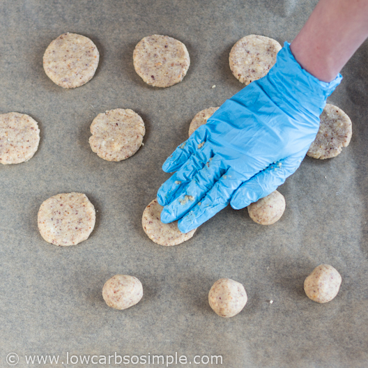 Flattening the Dough Balls | Low-Carb Hazelnut Butter Cookies