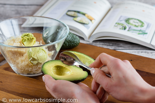 Vegetarian Stuffed Avocado from KetoDiet Cookbook; Scoopin Avocados | Low-Carb, So Simple