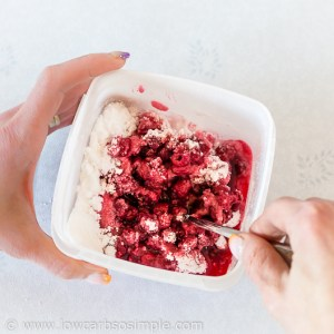 Raspberry Chocolate Chip Parfait; Mixing | Low-Carb, So Simple!