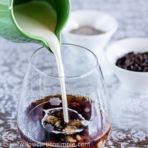 Coffee and Chocolate Chip Chia Pudding; Pouring in the Cream   Low-Carb, So Simple