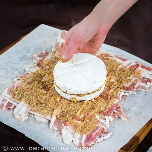 Bacon Wrapped Camembert with Walnuts; Placing the Cheese on the Bacon Weave | Low-Carb, So Simple