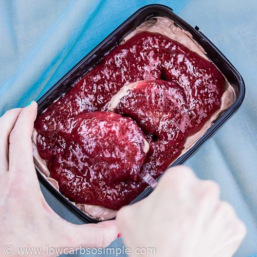 Dark Chocolate Raspberry Swirl Cheesecake No-Churn Ice Cream; Making Swirls | Low-Carb, So Simple