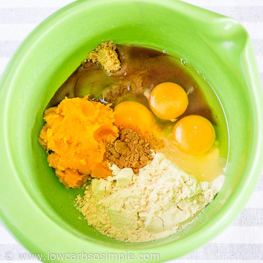 Fluffy 5-Ingredient Pumpkin Pancakes; Ingredients in a Bowl | Low-Carb, So Simple