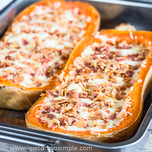 Cheesy Stuffed Butternut Squash with Bacon and Caramelized Red Onion   Low-Carb, So Simple