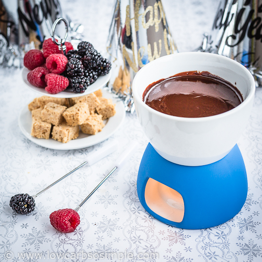 Bourbon Dark Chocolate Fondue; Happy New Year! | Low-Carb, So Simple