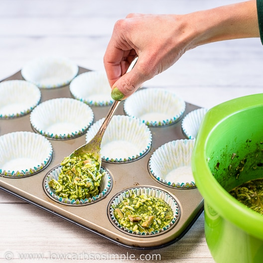 Spooning into Muffin Cups   Low-Carb, So Simple
