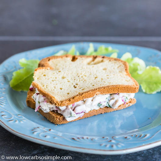 Sandwich: Simple and Fluffy Gluten-Free Bread with Creamy and Crunchy Chicken Salad | Low-Carb, So Simple
