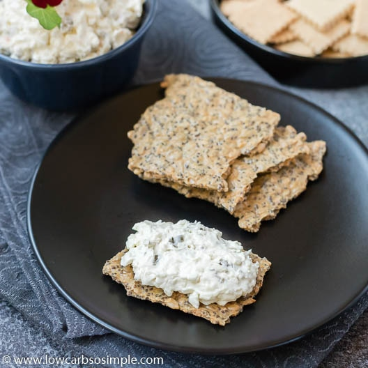Cream Cheese Olive Spread with Crisp Bread | Low-Carb, So Simple