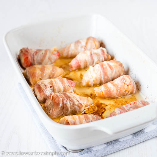 Sausage-Stuffed Bacon-Wrapped Mini Peppers | Low-Carb, So Simple