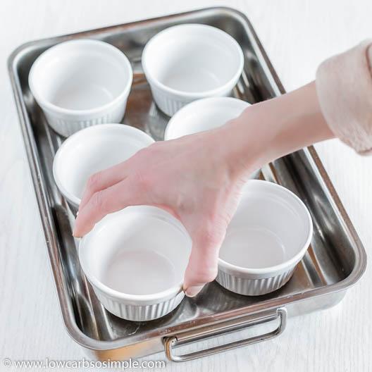 Placing Ramekins into a Roasting Pan | Low-Carb, So Simple