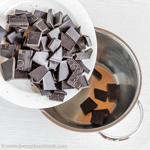 Adding Chocolate into Saucepan   Low-Carb, So Simple