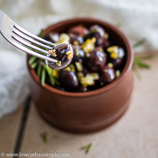 Easy Rosemary and Lemon Infused Marinated Olives   Low-Carb, So Simple