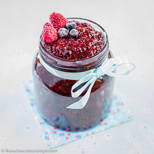 Keto Raspberry Blueberry Chia Jam Queen Jam | Low-Carb, So Simple