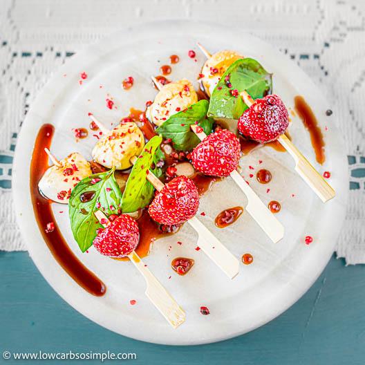 5-Ingredient Strawberry Caprese Skewers with Lemon Basil | Low-Carb, So Simple