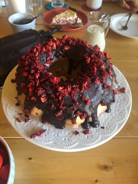 cake with glaze and freeze-dried strawberries