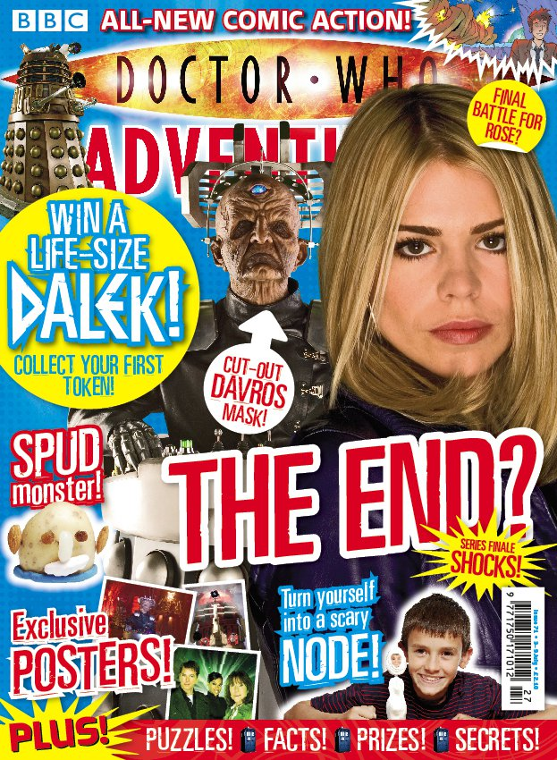 This cover is one of my favourites. With our new weekly frequency we could be totally responsive to new episodes as they were broadcast, and I think this was when all that really came together – brilliant cover image, strong storyline sells, a reader dressed up as Doctor Who and a Sontaran made out of a potato. It literally had THE LOT.