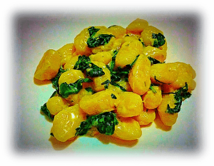 Melted Cheese and Baby Spinach Gnocchi