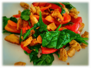 Scrambled Tempeh with Capsicums & Spinach
