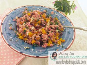 Low FODMAP Quinoa, Rice, Pumpkin, Feta, Beetroot and Kale Salad