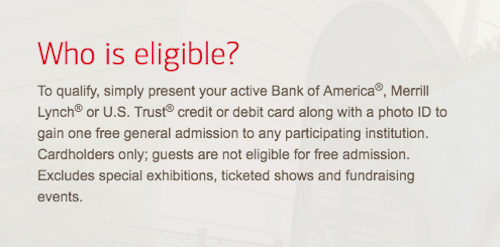 """""""Bank of America Museums on Us Eligibility"""""""