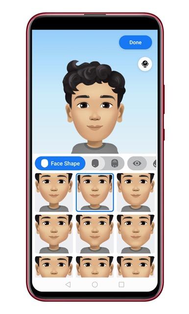 Select the 'Face Shape'