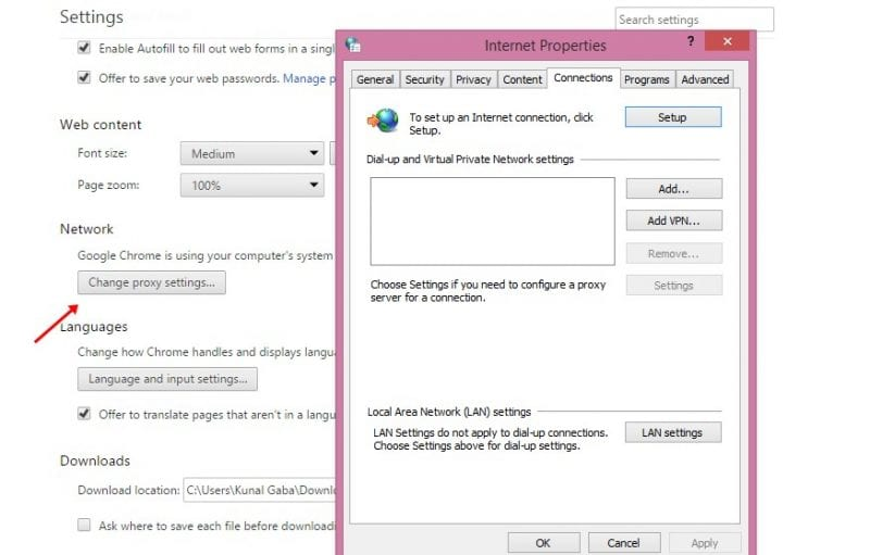 lick on the Change Proxy Settings under the Network option
