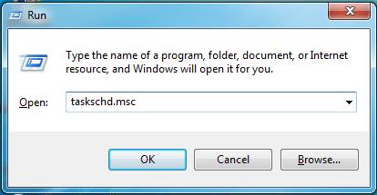 Enter 'taskschd.msc' on the RUN dialog box