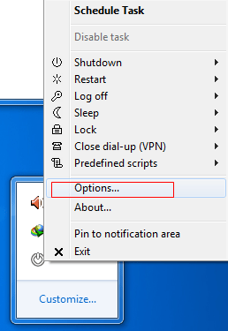 Select 'Options' from the right click menu