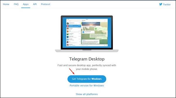 Click on 'Get Telegram for Windows'