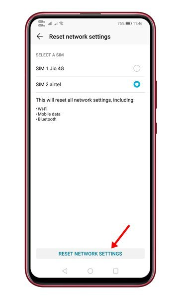 tap on the 'Reset Network Settings' option