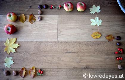 Landart - Herbstdomino: Blätter, Kastanien, Hagebutten, Äpfel, Nüsse