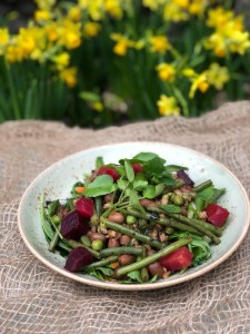 Umami dressed bean salad