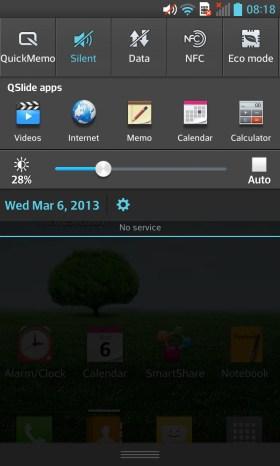 LG Optimus G Notification Bar