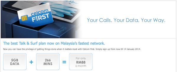 Get 5GB of Data + Free Call Minutes and SMS From RM88/month