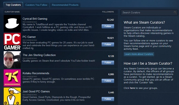 Steam Curated Lists