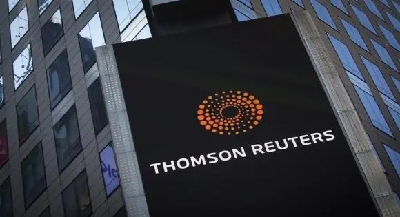 The Thomson Reuters logo on building in Times Square, New York