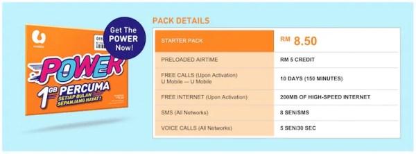 U Mobile Power Prepaid Starter Pack