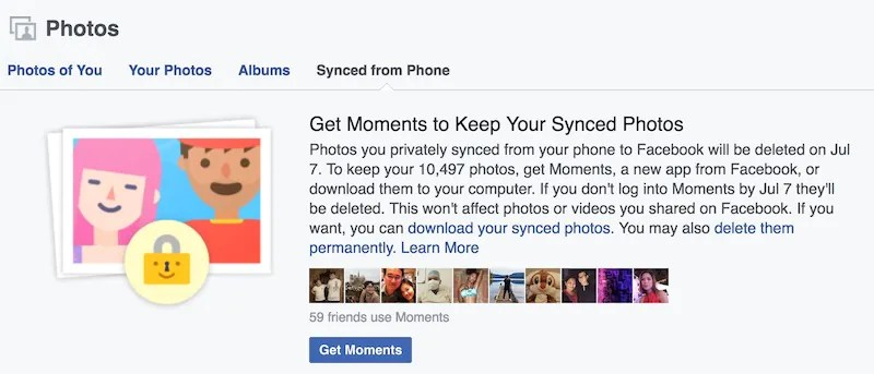 Facebook Message for Users to Use Moments