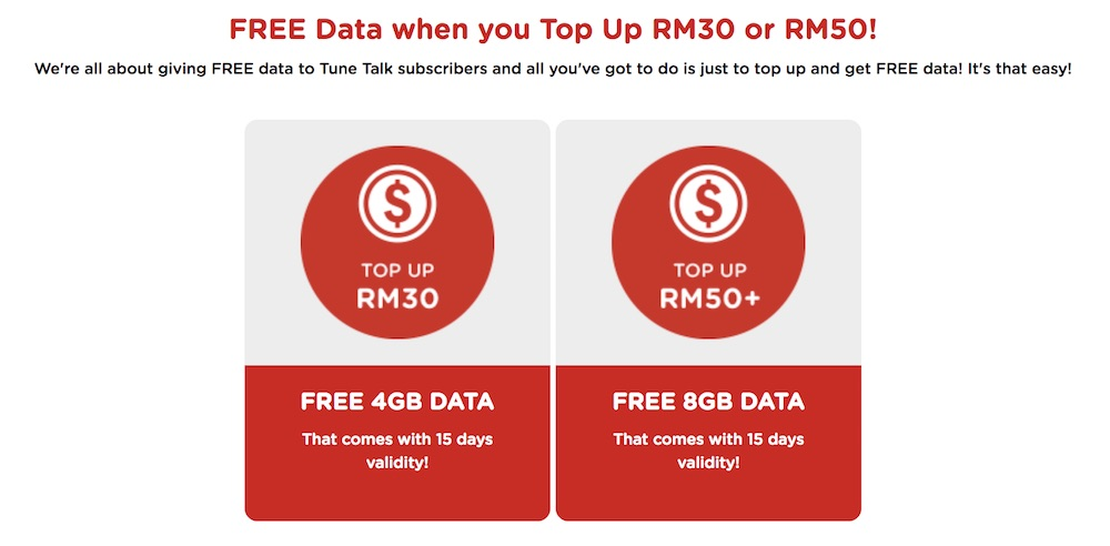 Tune Talk Now Offers Free Data When You Top Up RM30 and