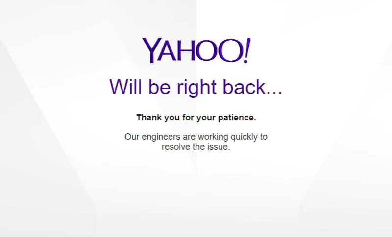 Yahoo website is down and crashes around the world